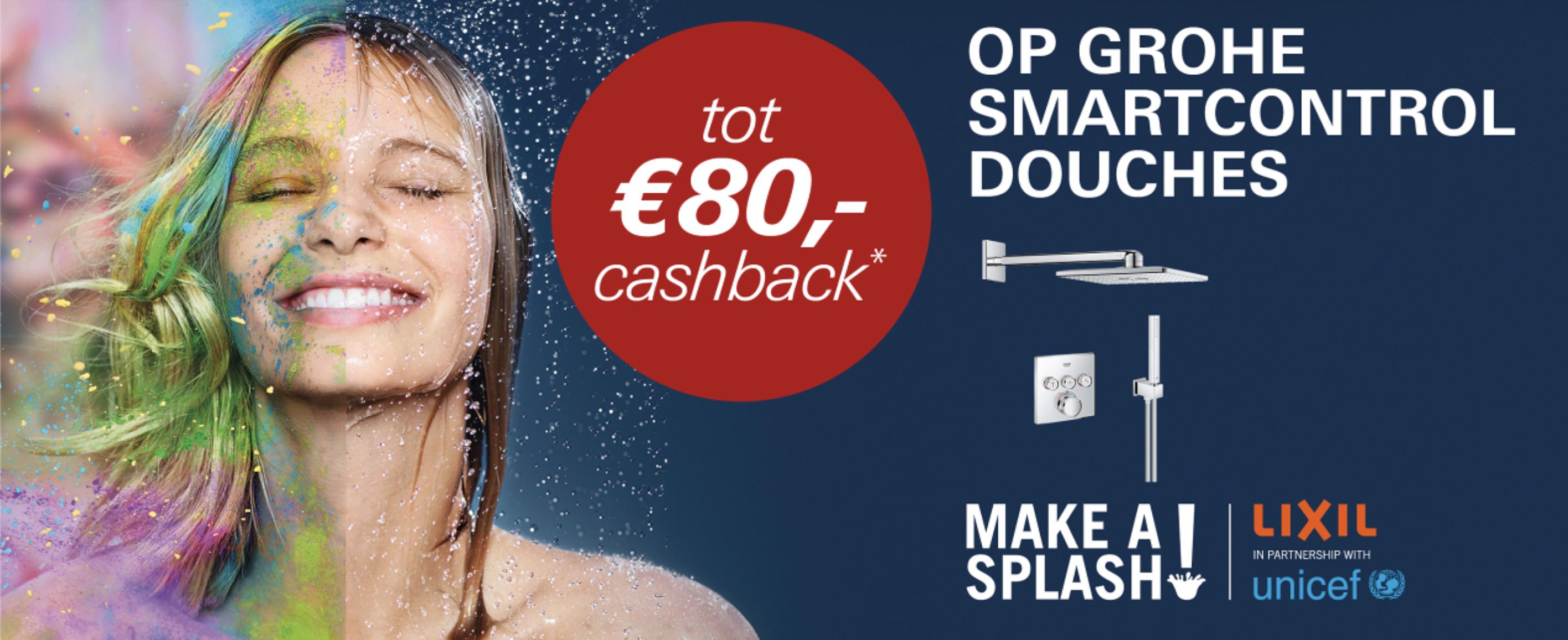 Ontvang tot 80 euro cashback bij de aankoop van een grohe smartcontrol douche