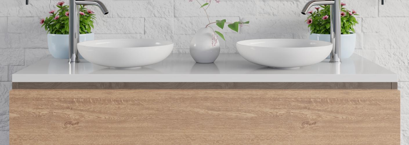Is een badmeubel van fineer (of HPL) geschikt voor de badkamer?
