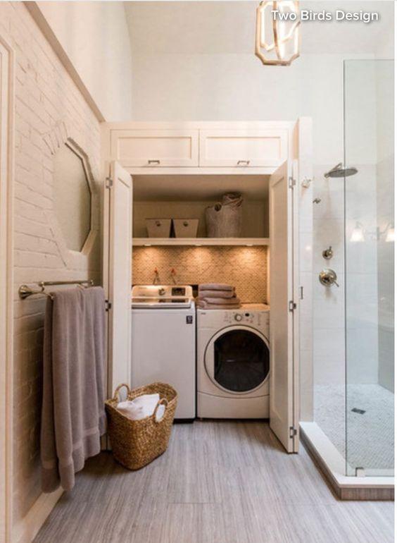 wasmachine wegwerken in badkamer