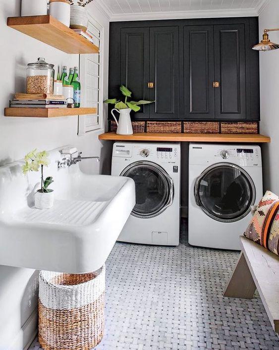 wasmachine stijlvol in badkamer