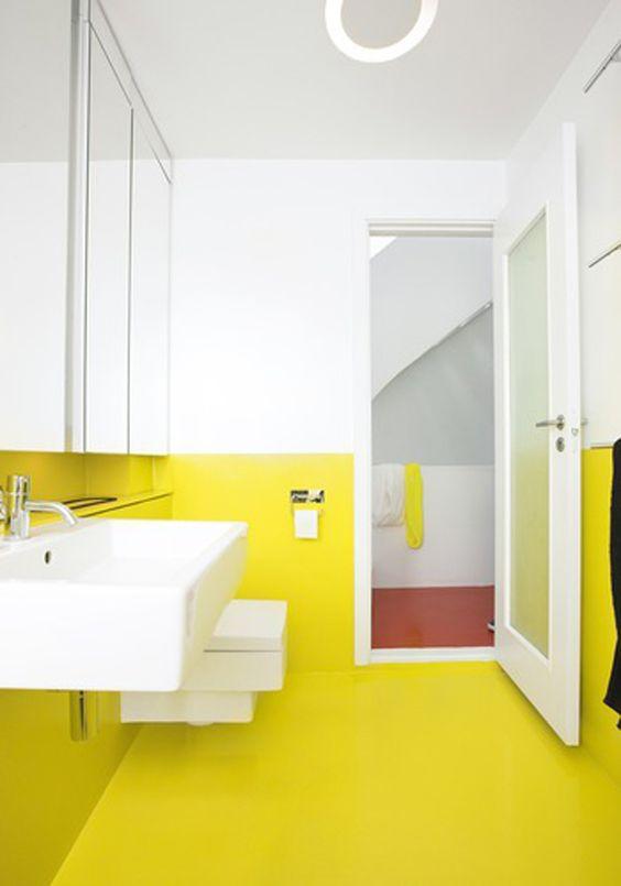 inspiratie gele badkamer