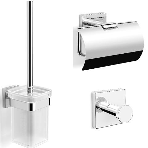Blinq Philadelphia toilet accessoires set chroom (haak wc rolhouder & borstelhouder)