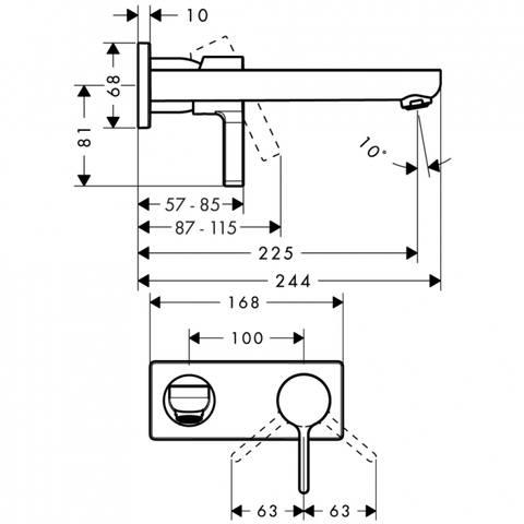 Hansgrohe Metris S afbouwdeel inbouw wastafelkraan uitloop 22,5 cm