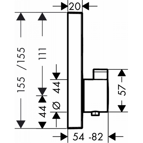 Hansgrohe Showerselect afdekset voor inbouwthermostaat met 1 stopfunctie chroom