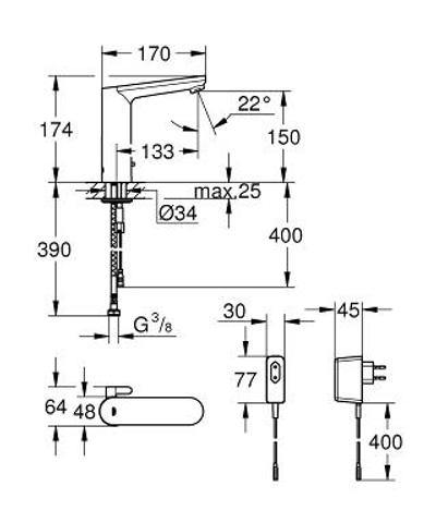 Grohe Eurosmart Cosmopolitan E electronische l-size wastafelkraan nfrarood 230v chroom