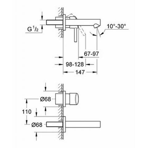 Grohe Concetto afdekset voor 2-gats wand wastafelkraan chroom (uitloop 15cm)