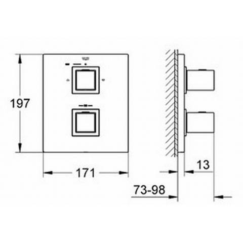 Grohe Grohtherm Cube afdekset voor inbouwthermostaat chroom