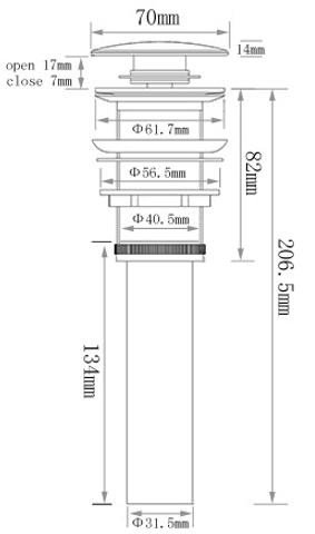 Blinq  keramische click plug voor wastafel-fontein mat zwart
