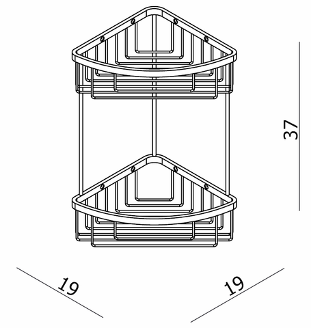 Blinq El Paso spons-zeephouder hoek dubbel chroom