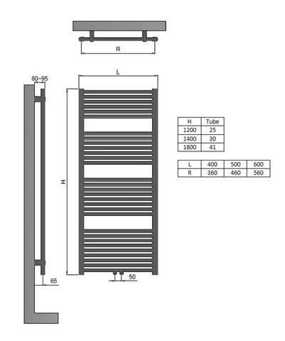 Blinq Altare R handdoekradiator 40x180 cm. n41 696w recht middenaansl. grijs metallic