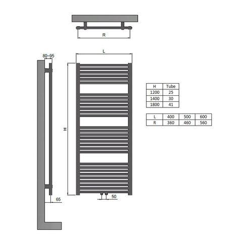 Blinq Altare R radiator 40x120 cm. n25 438w recht middenaansl. grijs metallic