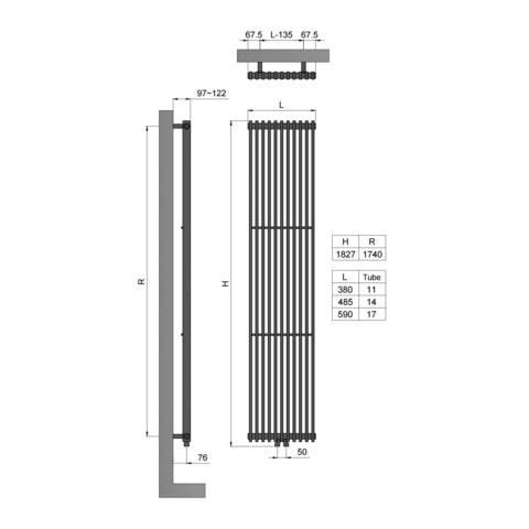 Blinq Bunol radiator 49x182 cm 1535w wit