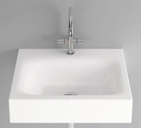 Bette Lux wastafel 60x49.5 cm. met kraangat wit