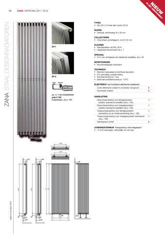 Vasco Zana Zv-1 radiator 544x1600 mm. n14 as=0066 1346w antraciet m301