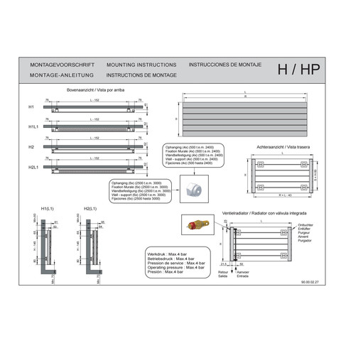 Vasco Viola H1-Ro radiator 1200x578 mm. n8 as=0018 767w wit ral 9016