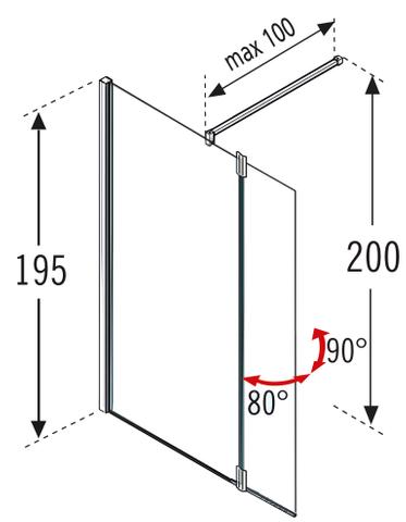 Novellini Giada draaideel links voor inloopdouche 37x195 cm. chroom-satijnband