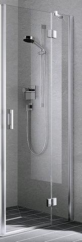Kermi Liga 2-dlg.hoekinstap helft draaideur 93x200cm.rechts zilver glans-helder glas