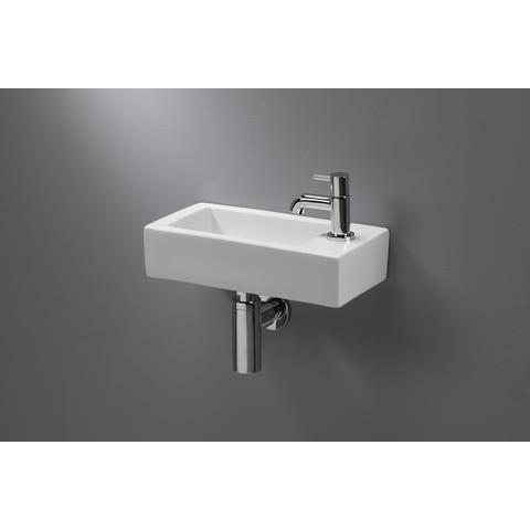Blinq Onega fontein 36,5x18,5x9 cm.kraangat re. z/overloop wit