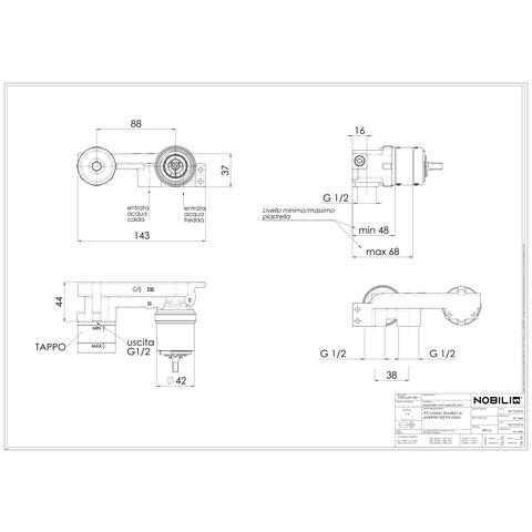 Blinq  basisgarnituur voor inbouw wastafelkraan staal