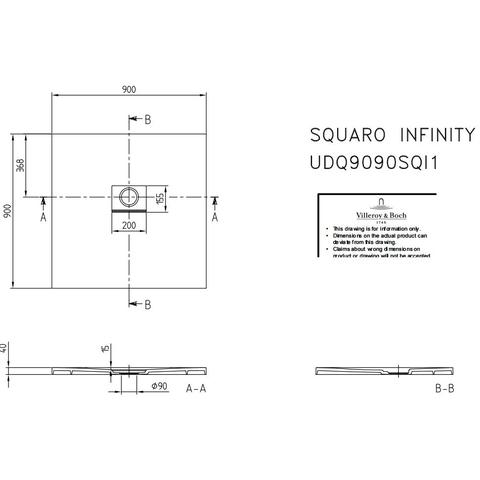 Villeroy & Boch Squaro Infinity douchebak 90 x 90 x 4 cm. stone white