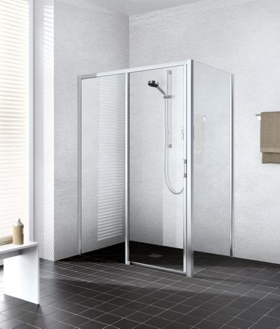 Kermi Liga 2-dlg.schuifdeur 160 x 200 rechts met vast paneel zilver glans-helder glas