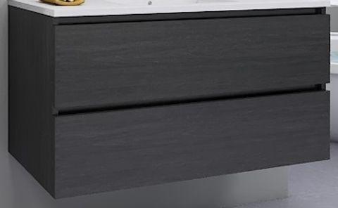 Blinq Tania wastafelonderkast 60cm. 2xlade donker eiken