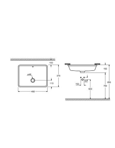 Grohe Cube Keramiek onderb.wastafel 49x37cm.met overloop pureguard wit