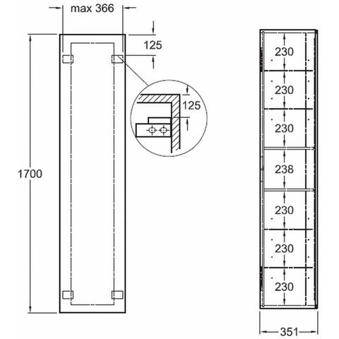 Geberit Xeno2 hoge kast 1 deur-binnenspiegel 170cm sculturagrijs scultura grijs