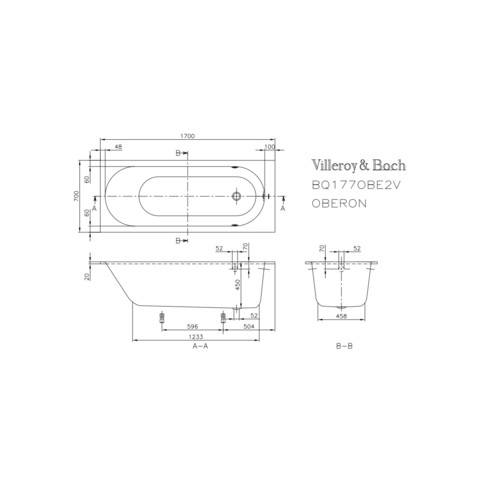 Villeroy & Boch Oberon bad 170 x 70 cm. met poten wit