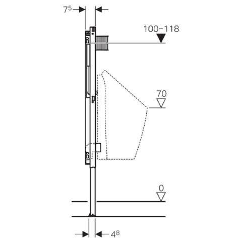 Geberit Duofix urinoir element 112-130 cm.