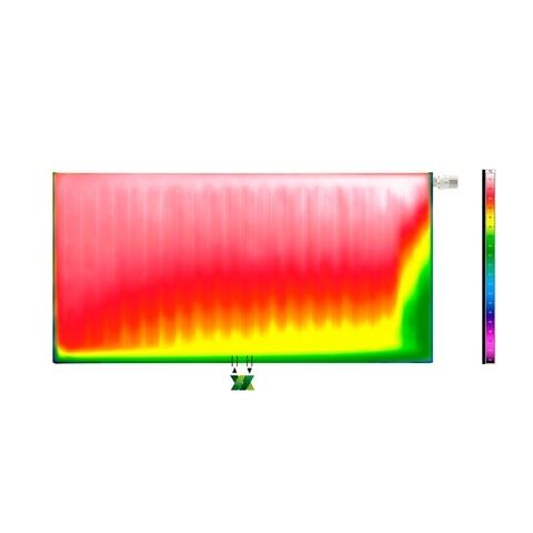 Radson E.Flow Ramo vlakke paneelradiator met horizontale lijnen - 900x900x108mm (H x L x D) - type 22