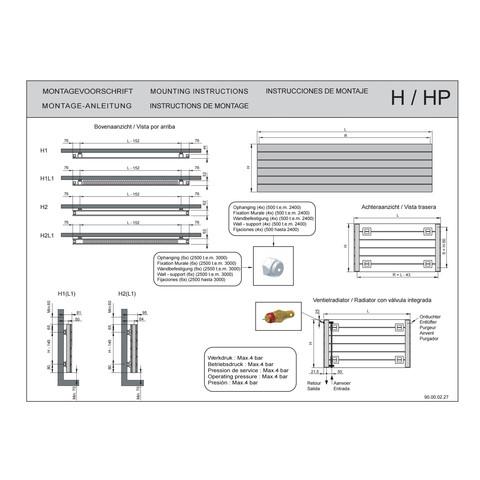 Vasco Viola H1l1-Ro radiator 1200x433 mm. n6 as=0067 888w wit ral 9016