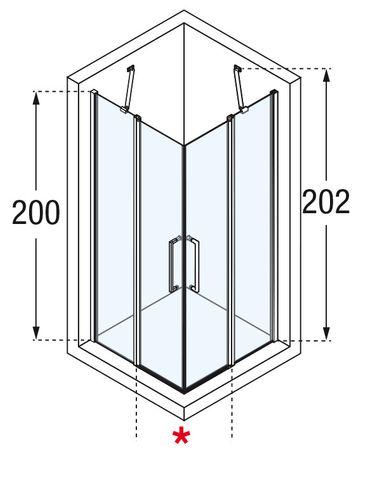 Novellini Young 2.0 hoekinstap met draaideur 89 x 200 cm. matchroom-helder glas