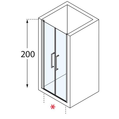 Novellini Young 2.0 2-delige draaideur 107 x 200 cm. matchroom-helder glas