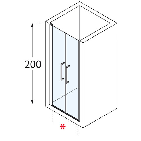 Novellini Young 2.0 2-delige draaideur 103 x 200 cm. matchroom-helder glas
