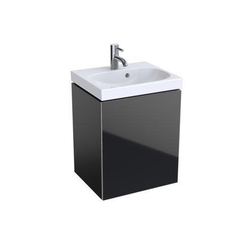 Geberit Acanto fonteinonderkast met glasdeur 44,5cm glans zwart glans zwart