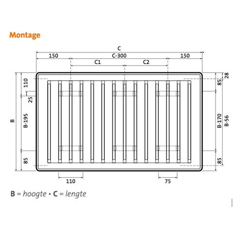 Radson Compact paneelradiator 450x3000x172mm (H x L x D) - type 33