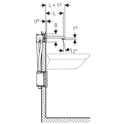 Geberit Brenta electronische wandwastafelkr.k voor batterij 22cm. chroom