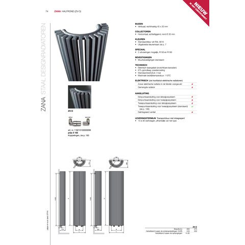 Vasco Zana Zv-O radiator 473x1800 mm. n20 as=0018 2094w zwart m300