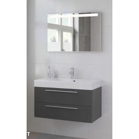 Bruynzeel Zero kit 1 meubelset 90cm.met spiegel-kraan en klikplug wit-graphite