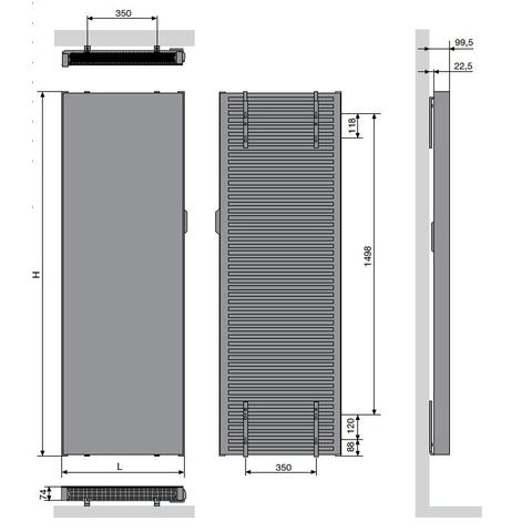Vasco E-Panel EP-V-FL elektrische radiator 200x50cm wit - 1500w