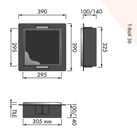 Looox T-BoX inbouw nis 30x30x14 cm. betegelbaar rvs geborsteld