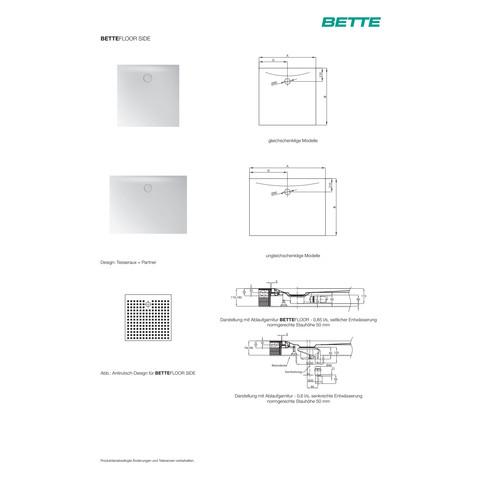 BetteFloor Side douchebak 170 x 90 x 3 cm. antislip pro wit