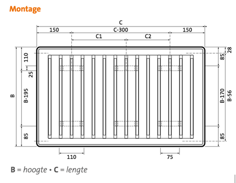 Radson Compact paneelradiator 900x1650x172mm (H x L x D) - type 33