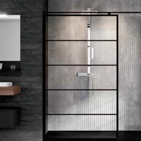 Novellini Kuadra H inloopdouche 100cm - stripes motief - mat zwart