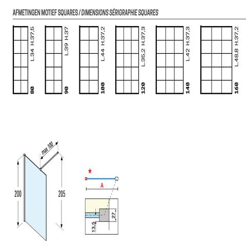 Novellini Kuadra H inloopdouche 100cm - square motief - mat zwart