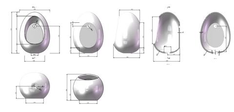 Luca Sanitair  wandfontein eivormig 30x26x41h in solid surface mat wit