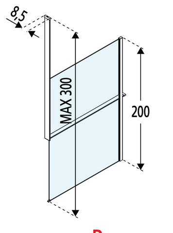 Novellini Kuadra profiel voor plafondbevesiging - planchet rechts - mat zwart