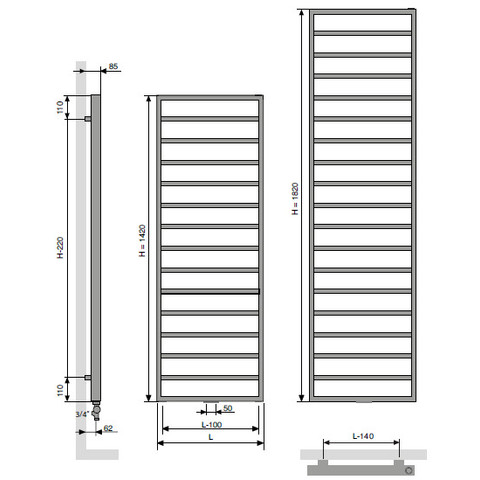 Vasco Bathline Ba radiator 600x1820 mm. n19 as=1188 974w wit ral 9016