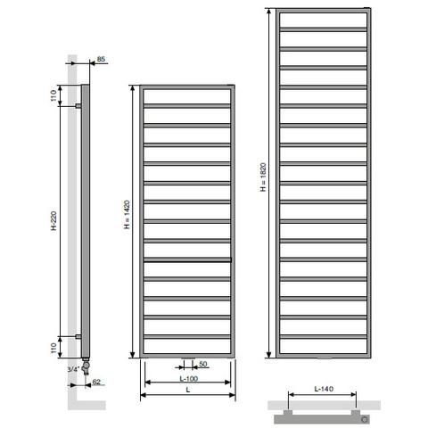 Vasco Bathline Ba radiator 600x1820 mm. n19 as=1188 974w antraciet m301